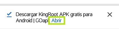 Aceptar instalación APK KingRoot