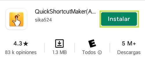 Instalación QuickShortcutMaker desde Google Play Store